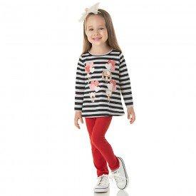 conjunto infantil menina blusa listrada e legging vermelha 1314 9996