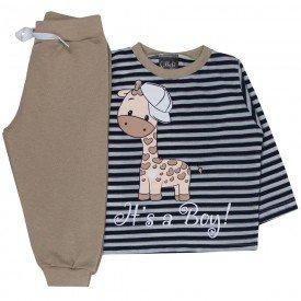 conjunto bebe menino camiseta listrada it s a boy e calca moletom preto marfim 1346 10005