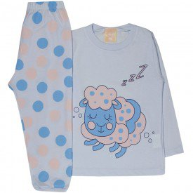 pijama infantil feminino meia malha ovelha branco 1327 10001