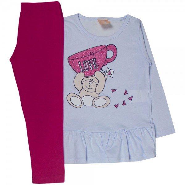 conjunto infantil menina blusa branca love e legging pink 1318 9998