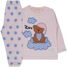 pijama bebe menina meia malha ursinho rosa claro 1313 9995
