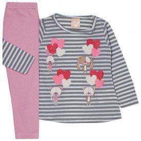 conjunto infantil menina blusa listrada e legging rosa 1314 9997