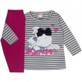 conjunto bebe menina blusa listrada com laco e legging pink 1308 9994