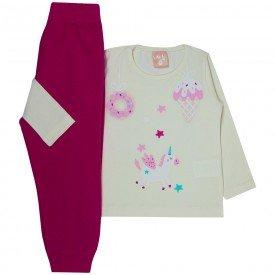 conjunto infantil menina blusa off calca moletom pink 1320 9999