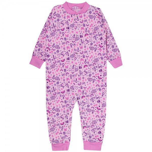 macacao infantil feminino unicornio moletinho rosa kw306 10009