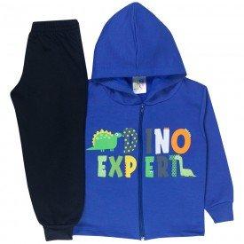 conjunto infantil menino jaqueta capuz dino expert royal preto 1725 10040 3