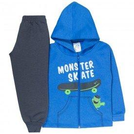 conjunto infantil menino jaqueta capuz skate azul chumbo 1724 10036 2