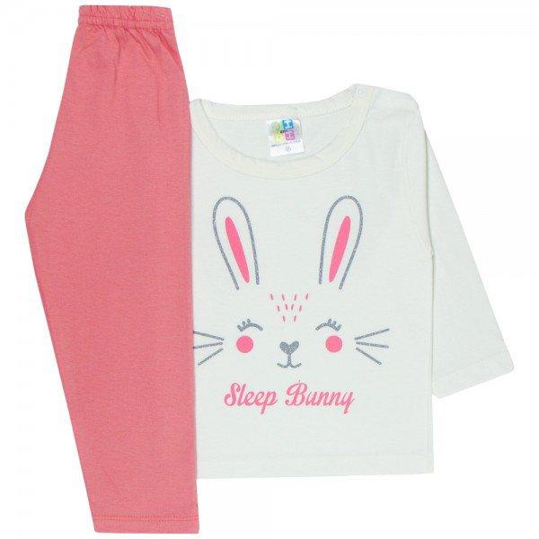 pijama bebe menina meia malha coelho off white coral 1714 10020