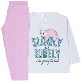 pijama infantil menina meia malha preguica branco rosa 1739 10042