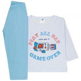 pijama infantil menino meia malha game over branco azul 1726 10041