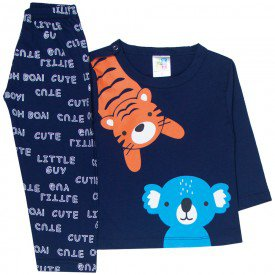 pijama bebe menino meia malha tigre e coala marinho 1706 10018