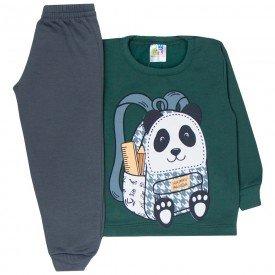 conjunto infantil menino moletom mochila panda verde musgo chumbo 1717 10024