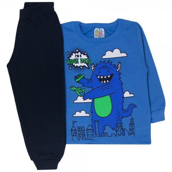 conjunto infantil menino moletom monstrinho azul preto 1718 10025