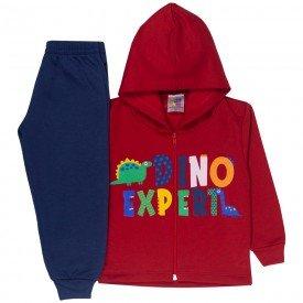 conjunto infantil menino jaqueta capuz dino expert vermelho marinho 1725 10039