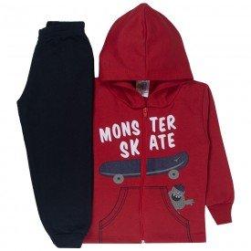 conjunto infantil menino jaqueta capuz skate vermelho preto 1724 10038
