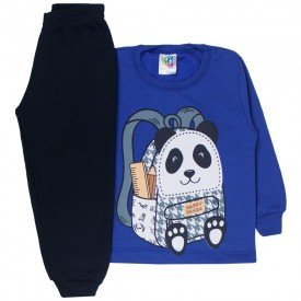 conjunto infantil menino moletom mochila panda royal preto 1717 10023