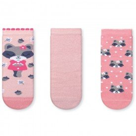 kit 3 pares de meia soquete infantil raposa rosa 151 251 351 51 10097