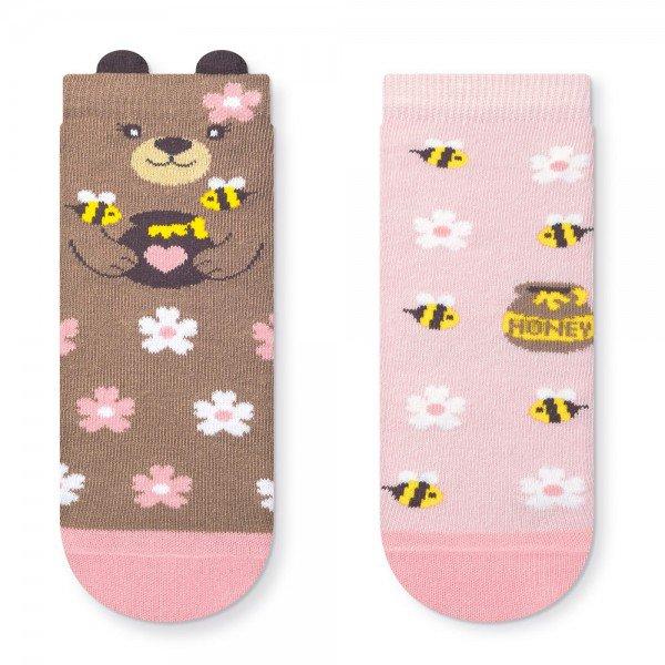 kit 2 pares de meia soquete infantil 3d ursinho honey t1741 42 43 1 10102