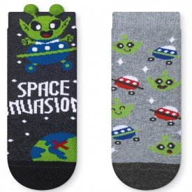 kit 2 pares meia soquete infantil 3d space invasion t2741 42 43 2 10104