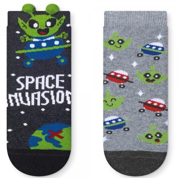 kit 2 pares meia soquete infantil 3d space invasion t2741 42 43 2 10104