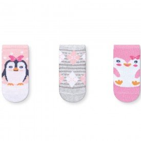 kit 3 pares meias soquete recem nascido menina k1214 14 10059