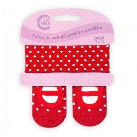 kit meia sapatilha e faixa de cabelo para bebe menina vermelho poa t1400 2 10070