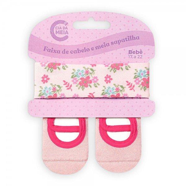kit meia sapatilha e faixa de cabelo para bebe menina rosa floral t1400 1 10069