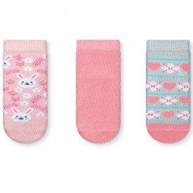kit 3 pares meias soquete infantil menina 035 47 10077