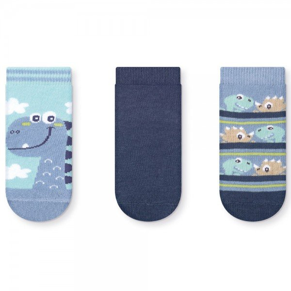 kit 3 pares meias soquete infantil azul dino 036 46 10078