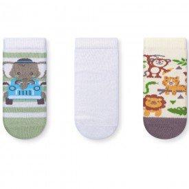 kit 3 pares meias soquete infantil safari 036 47 10079