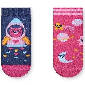 kit 2 pares meias soquete antiderrapante menina t1040 10080