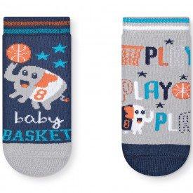 kit 2 pares meias soquete antiderrapante menino baby basket marinho e mescla t2040 23 10081