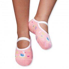 sapatilha sapameia infantil antiderrapante cisne rosa m1291 92 93 291 10085