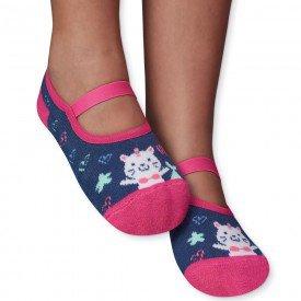 sapatilha sapameia infantil antiderrapante gatinho marinho e pink m1291 92 93 288 10087