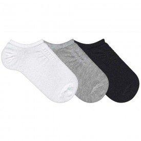 kit 3 pares meias infantis cano invisivel branca mescla e preto k2731 32 33 2 10091