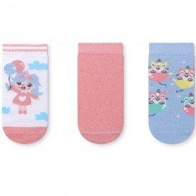 kit 3 pares de meia infantil cano curto branca rosa e azul 171 271 371 33 10093