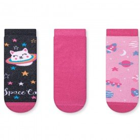 kit 3 pares de meia soquete infantil space cat 151 251 351 52 10098
