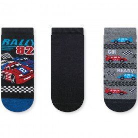 kit 3 pares meia soquete infantil rally 152 252 352 54 10101