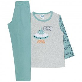 pijama infantil menino hello space mescla light e verde 354 9729