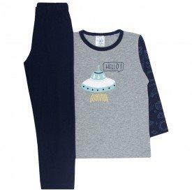 pijama infantil menino hello space mescla e marinho 354 9730