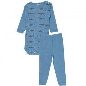 conjunto body e calca tubarao azul bebe 114 115 116 10117