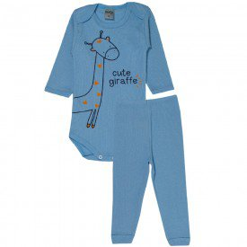 conjunto body e calca cute giraffe azul bebe 114 115 116 10122