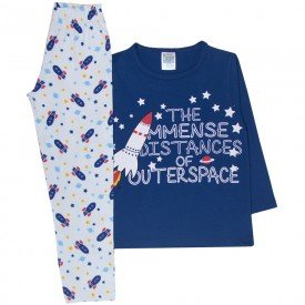 pijama infantil menino foguete marinho branco 356 10135