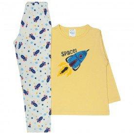 pijama infantil menino space amarelo off white 361 10140