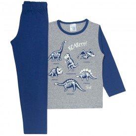 pijama infantil menino dinossauro brilha escuro mescla marinho 353 10137