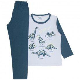 pijama infantil menino dinossauro brilha escuro branco petroleo 353 10138