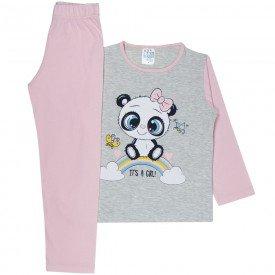 pijama infantil menina panda mescla rosa 355 10141