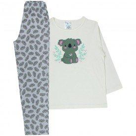 pijama infantil menina coala off white cinza 360 10142