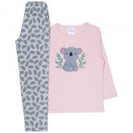 pijama infantil menina coala rosa claro cinza 360 10143