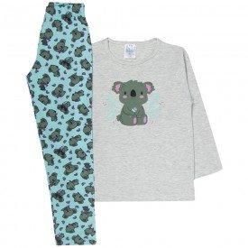pijama infantil menina coala rosa mescla verde 360 10144